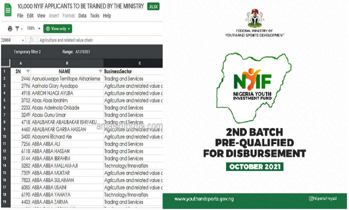 NYIF Shortlisted 10,000 Applicants for Disbursement and Training (Download List PDF)